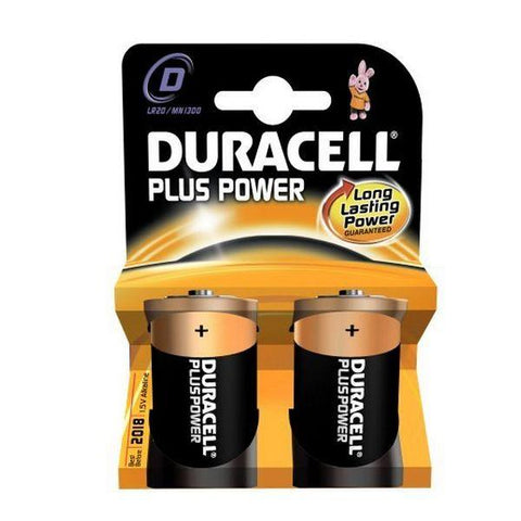Alkaline Batteries DURACELL Plus Power DURLR20PB2 LR20 D 1.5V (2 pcs)