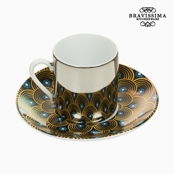 Cup with Plate Magic Porcelain Yellow Blue - Kitchen's Deco Collection by Bravissima Kitchen-Bravissima Kitchen-Clauven.com