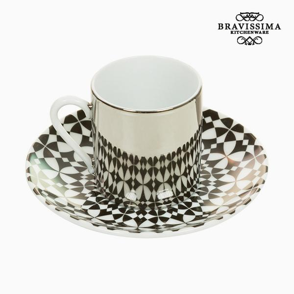 Cup with Plate Magic Porcelain White Black - Kitchen's Deco Collection by Bravissima Kitchen