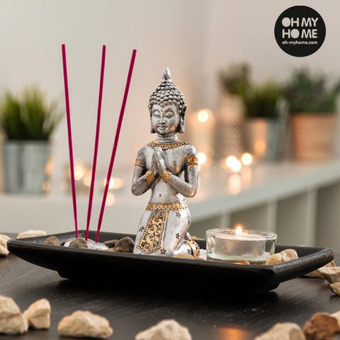 Oh My Home Decorative Buddha Set with Candle and Incense (9 pieces)