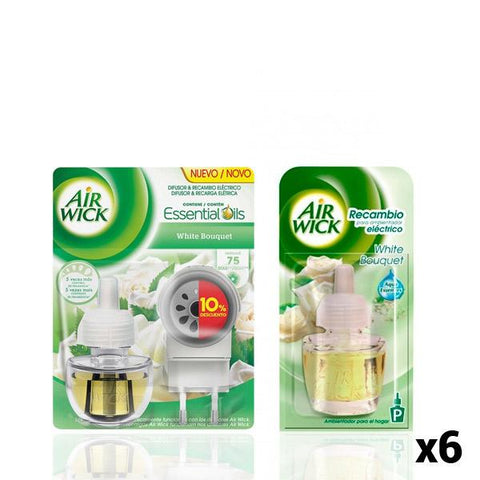 Air Wick White Bouquet Electric Air Freshener + 6 Refills Pack