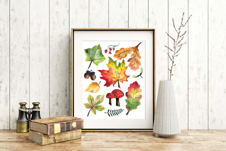 AUTUMN COLLAGE Fine Art Watercolor Print