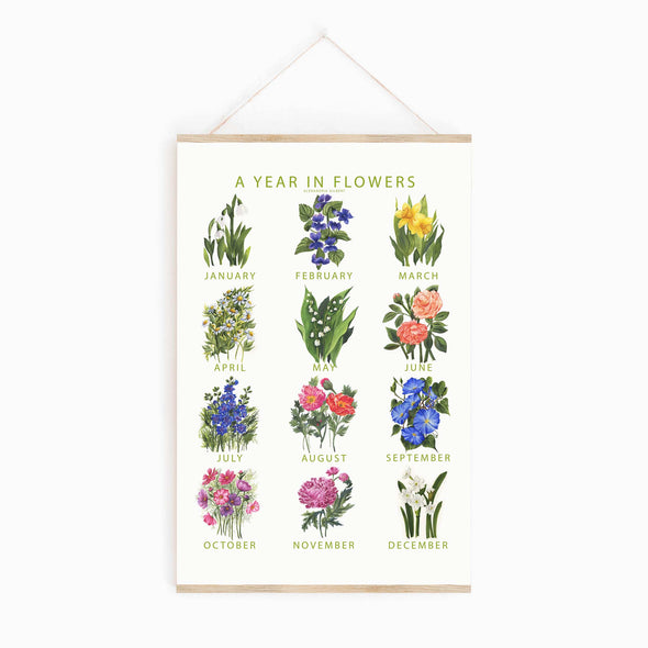 A Year In Flowers Poster {FINE ART PRINT}