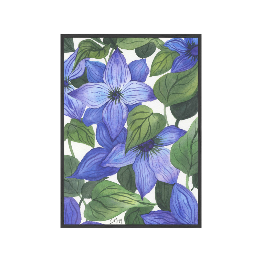 BLUE FLORAL CLEMATIS Fine Art Watercolor Print (Small)