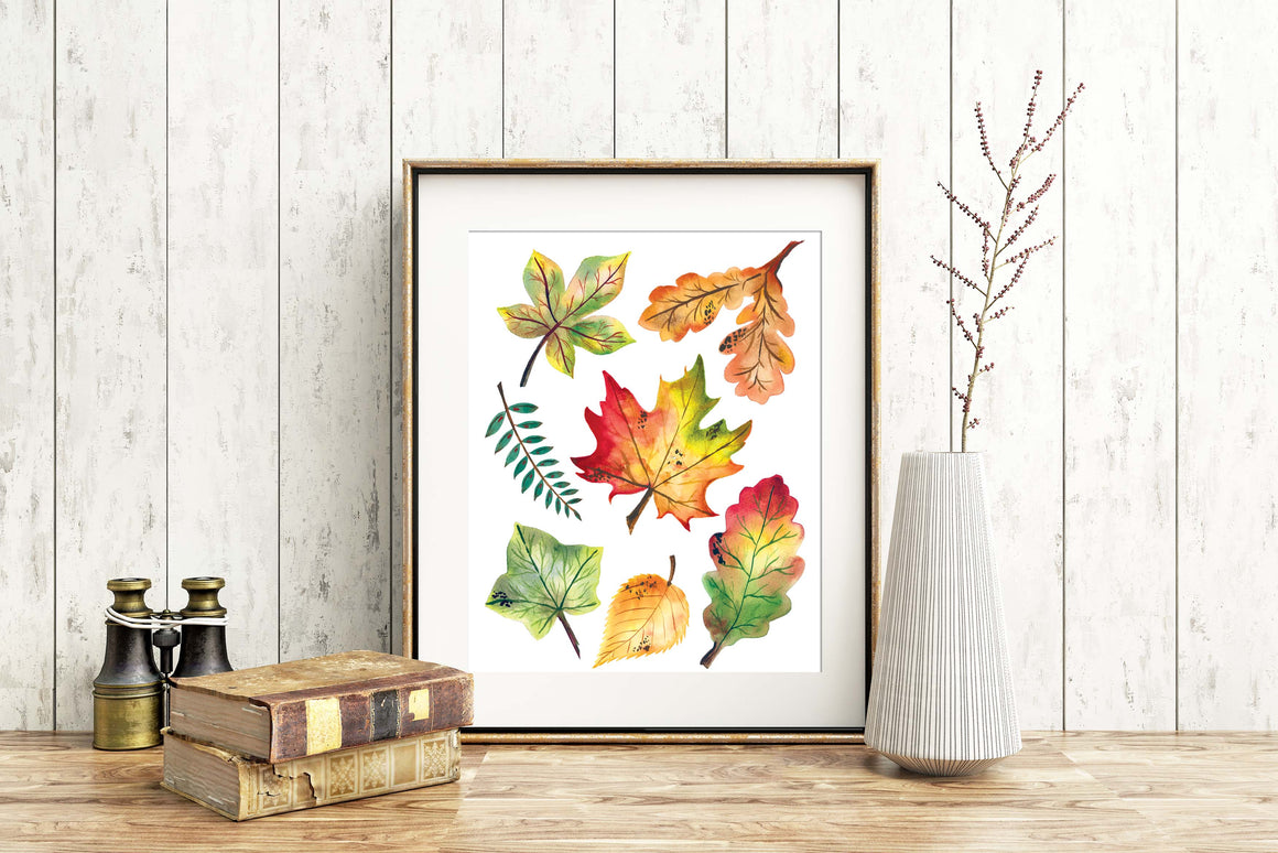 FALL LEAVES Fine Art Watercolor Print
