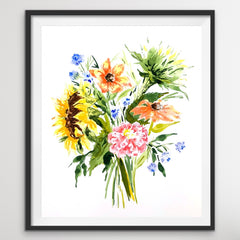 Sunflower and Wildflowers: Watercolor Bouquet