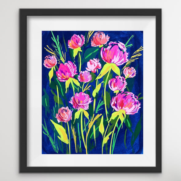 Neon Pink Peonies on a Dark Blue Background