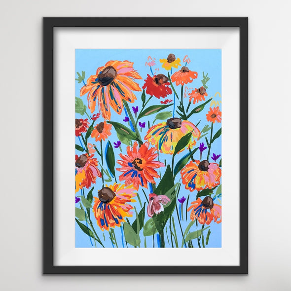 Incredible Black-Eyed Susans on Blue Background