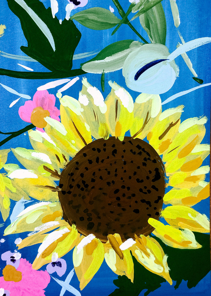 Sunflower and Sky: Acrylic and Gouache