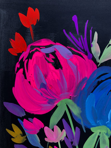 Peonies on a Black Background