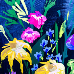Foxgloves on a Royal Blue Background