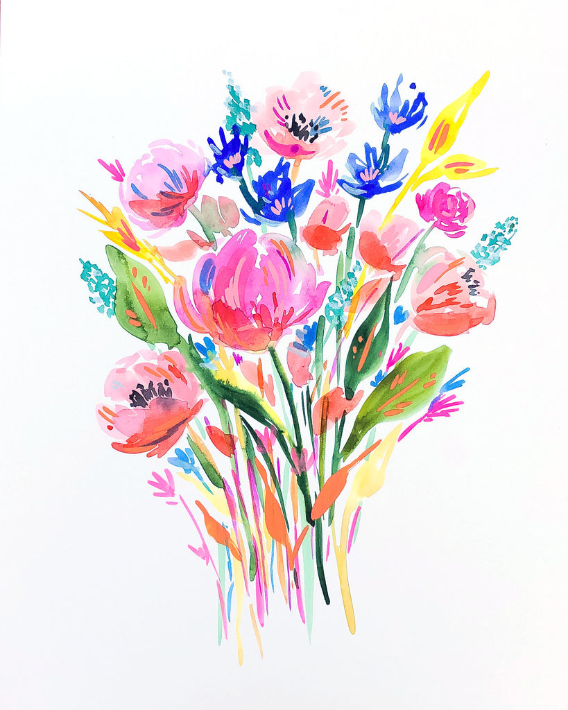 Rainbow Watercolor Bouquet