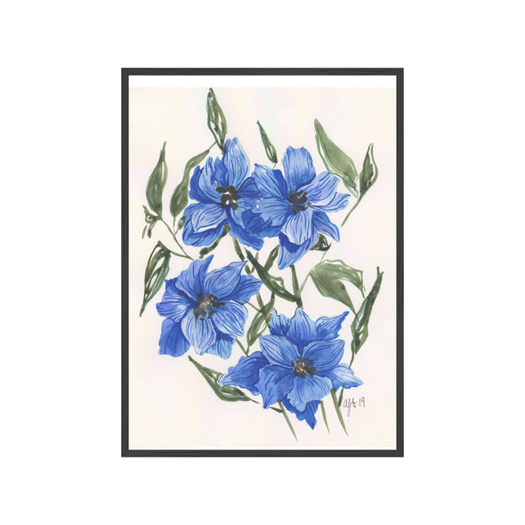 BLUE LARKSPUR Fine Art Watercolor Print
