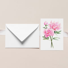 MAY PINK PEONIES Botanical Note Card