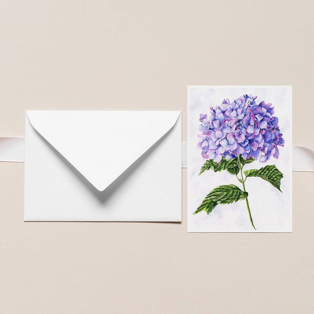 PURPLE HYDRANGEA Botanical Note Card