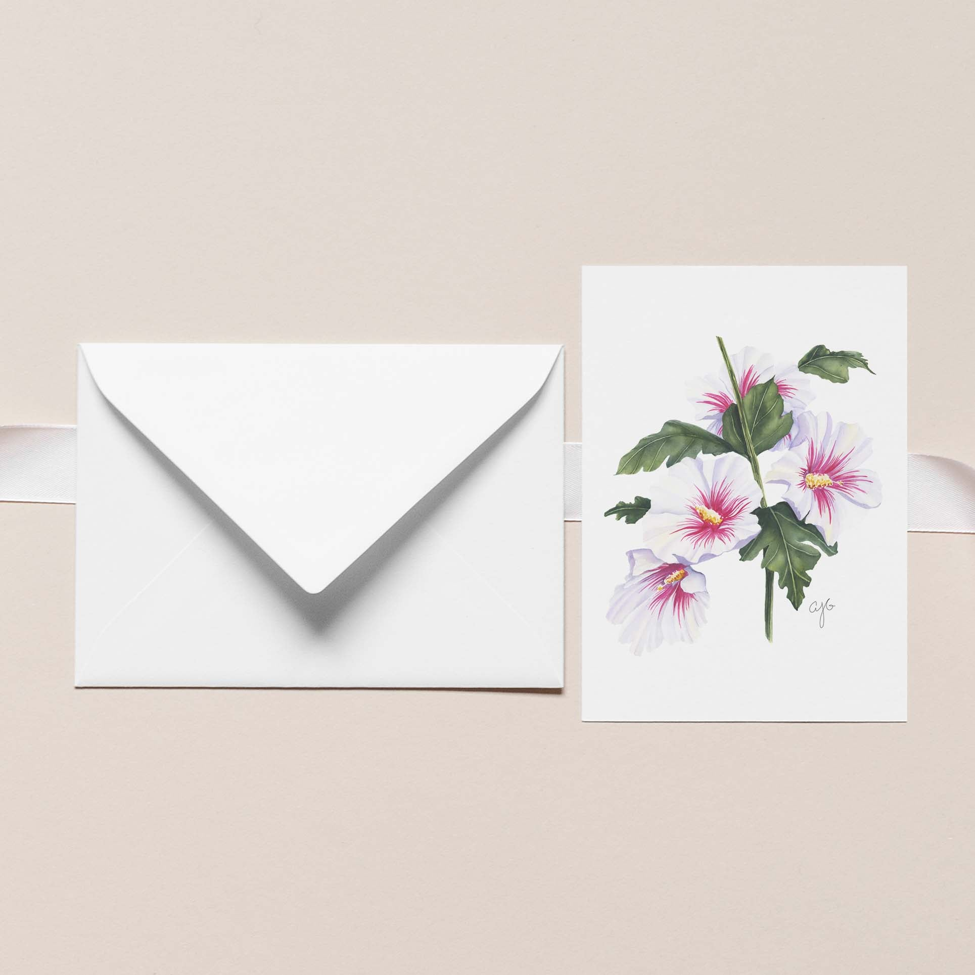 ROSE OF SHARON Botanical Note Card