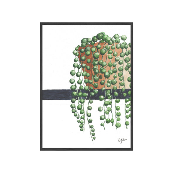 STRING OF PEARLS Fine Art Watercolor Print