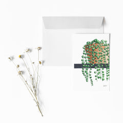 STRING OF PEARLS Botanical Note Card