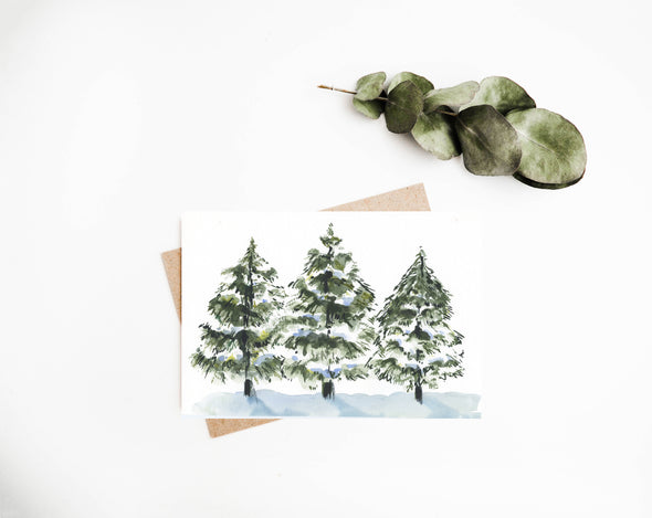 Three Snowy Pines No.1 : A Thrill of Hope
