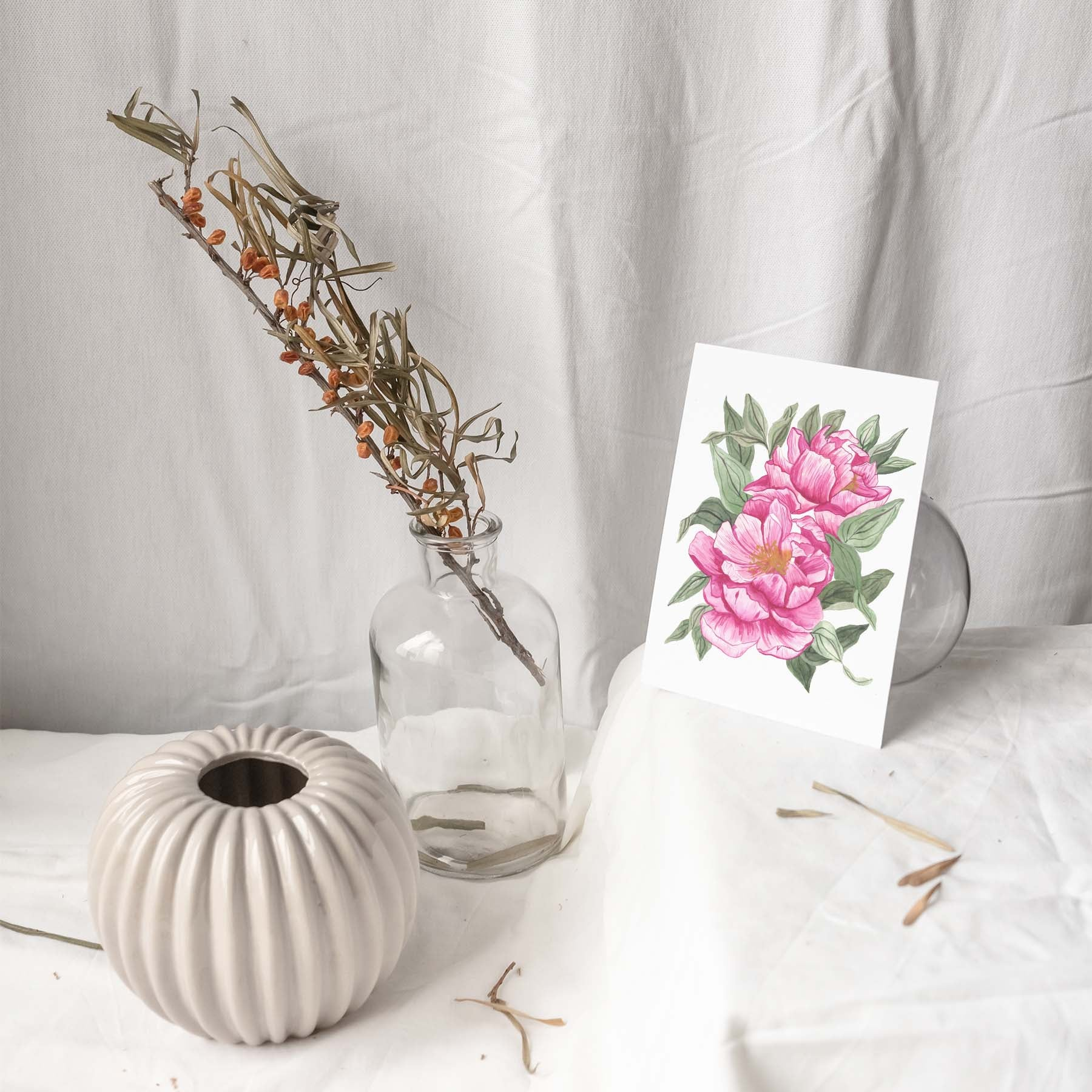 PINK PEONIES WITH FOLIAGE Botanical Note Card