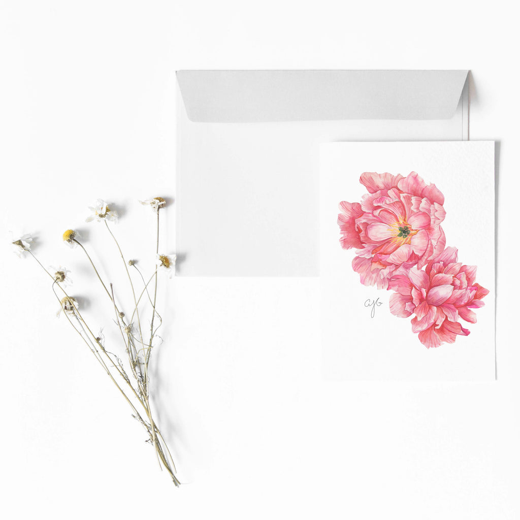 TWO PINK PEONIES Botanical Note Card