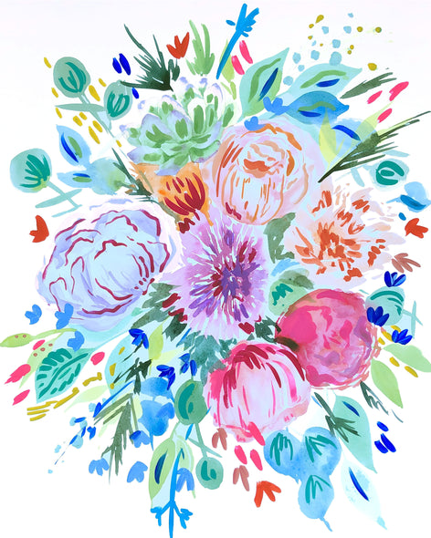 Succulent and Floral Watercolor Bouquet
