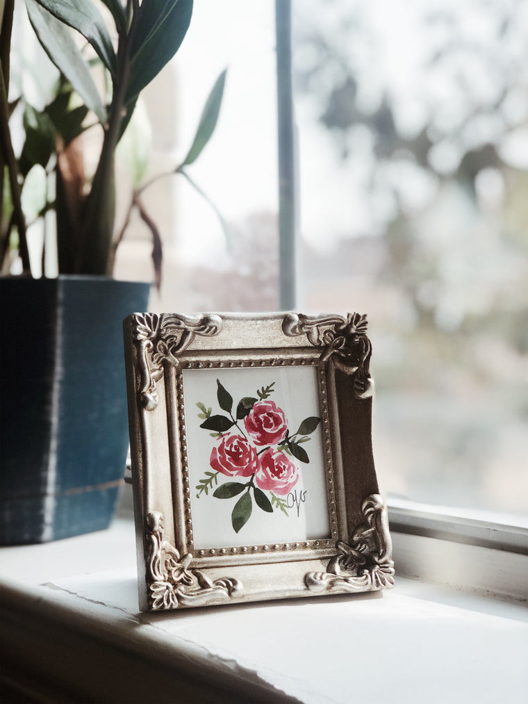 MINI FRAMED ORIGINAL : Vintage Roses No. 1