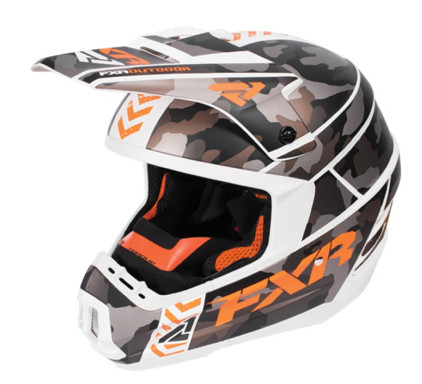 FXR Torque Squadron Snowmobile Helmet - Grey Urban Camo / White / Orange, 2XL, XXL