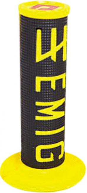 Emig / ODI V2 Half Waffle Lock-On Grip 2-Stroke, Black And Yellow, 206-1006