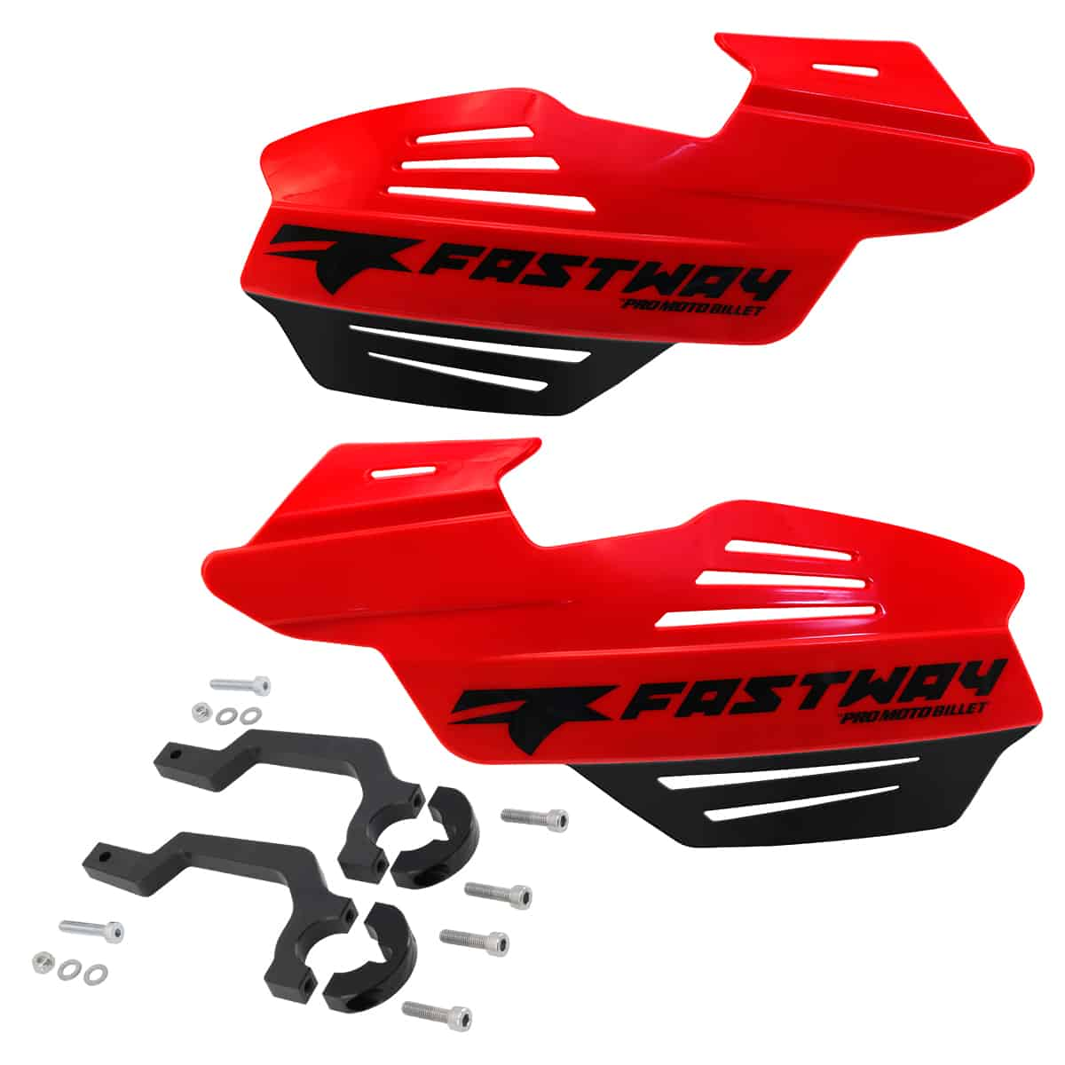 Fastway Flak Shield Handguard System for Motorcyces and ATV's –  Red and Black