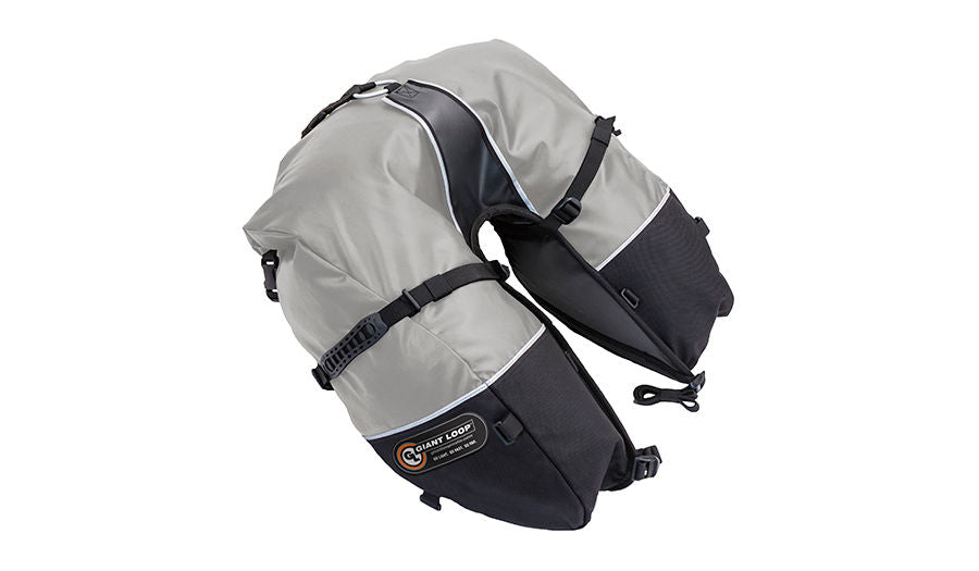 Giant Loop Coyote Saddlebag Roll Top Motorcycle Saddlebags - Gray