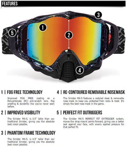 509 Sinister MX-5 Dirt Bike Goggles, Neon Voltage, Black Yellow, Smoke Tint Lens