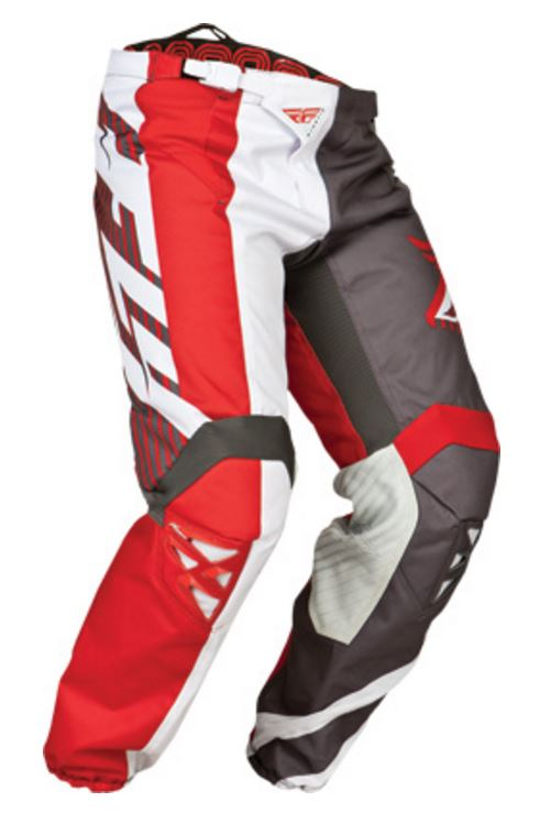 FLY RACING KINETIC DIVISION MOTORCYCLE PANTS - RED / GREY / WHITE SIZE 30