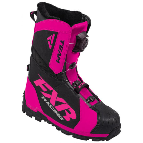 FXR Women's Team Boa Snowmobile Boots - Black and Pink, Size 9