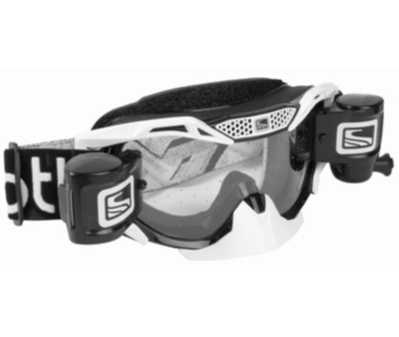 Scott Voltage Pro Motocross Goggles - Black and White with Clear Lens and Roll Offs