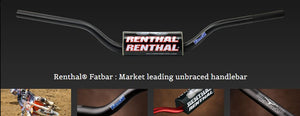Renthal Dirt Bike Handlebars, Renthal Fatbars, RC High Bend, Black, 609-01-BK