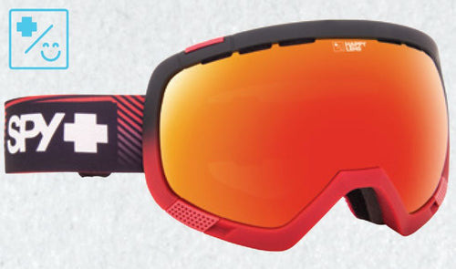 SPY PLATOON SKI SNOW BIKE SNOWMOBILE GOGGLES - STACKED RED WITH HAPPY RED SPECTRA + HAPPY LUCID GREEN LENSES