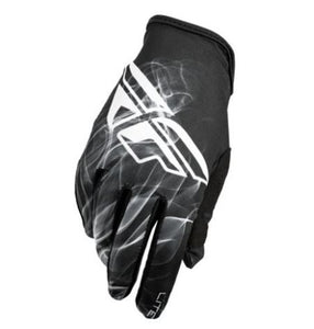 Fly Racing Lightweight Gloves Black and White, Small, 8