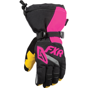 FXR Womens CX-1 Black and Pink Snowmobile Gloves, Medium, Large