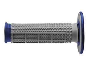 Renthal MX Dual Compound Grips Tapered Blue Half Waffle Soft, Grey and Blue