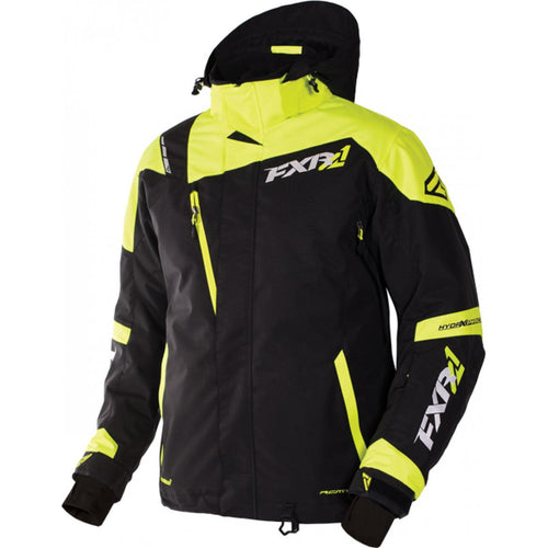NEW FXR MISSION X MENS SNOWMOBILE JACKET - BLACK & YELLOW, LARGE, LG, L