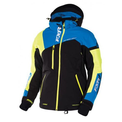 NEW FXR RENEGADE X SNOWMOBILE JACKET – BLACK / BLUE / YELLOW, LARGE, LG