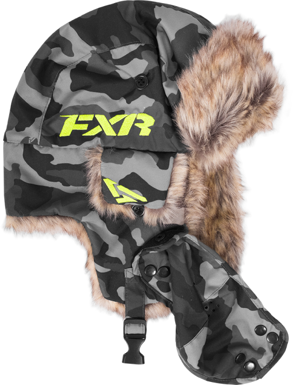 FXR Trapper Hat – Urban Camo, Large to XL Snowmobile Hat, Beanie