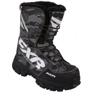 FXR X Cross Snowmobile Boots - Grey Urban Camo, Men's Size 9, Women's Size 11