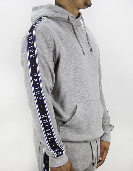 EMPIRE Logo Stripe Track Hoodie - Grey / Black