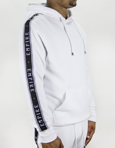 EMPIRE Logo Stripe Track Hoodie - White / Black (LIMITED EDITION)