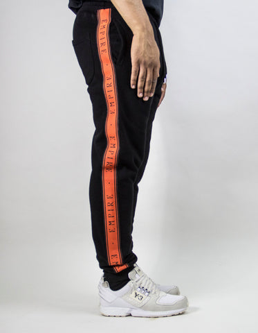 EMPIRE Logo Stripe Trackpants - Black / Orange