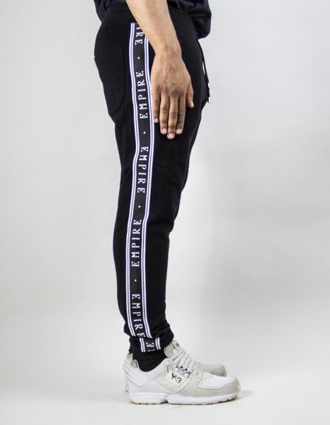 EMPIRE Logo Stripe Trackpants - Black / Black