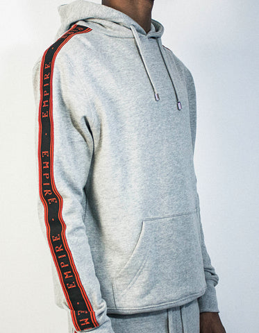 Logo Stripe Hoody - Grey / Black / Red