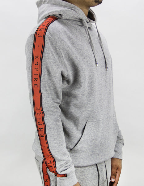EMPIRE Logo Stripe Track Hoodie - Grey / Orange